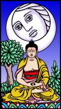 Click for Larger version of The Buddha Tarot Wesak card